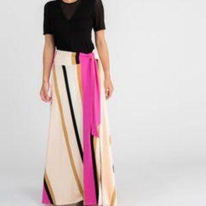 Wrap Maxi Skirt Vintage Stripe